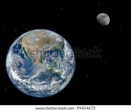 A composite image of the moon and earth with stars. Elements of this image furnished by NASA.