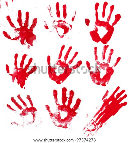 A composite of 9 bloody hand prints isolated on white.