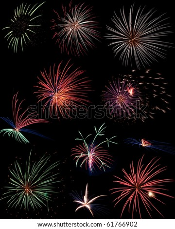 A composite of fireworks from a fantastic fireworks show. - stock photo