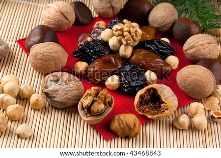 a composition of Italian Christmas Dried Fruit and Nuts - stock photo