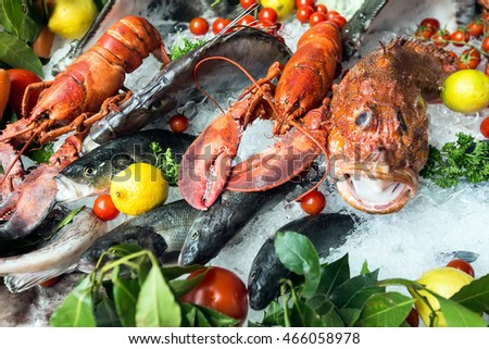 A composition of of different of fruits and vegetables of seafood