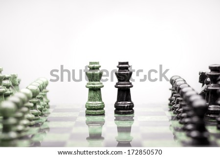 A composition of two kings between the raws of chess pieces. - stock photo