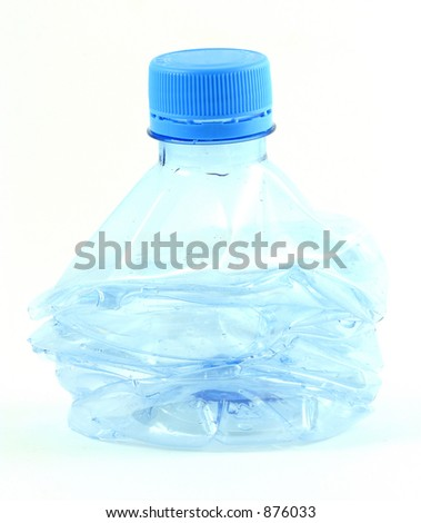 a compressed plastic water bottle