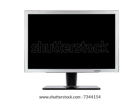 A computer flat wide screen isolated on white background - stock photo