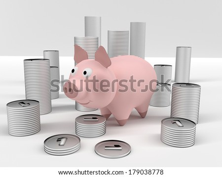 A computer generated image of silver coins and a piggybank. - stock photo