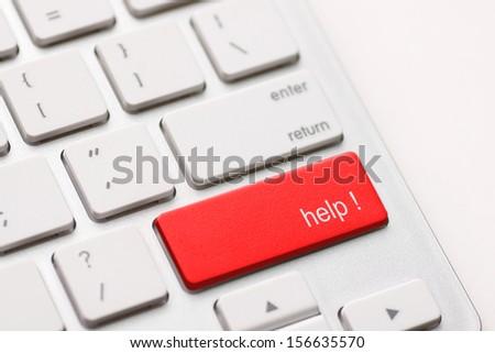 A computer Help Key. White keyboard - stock photo