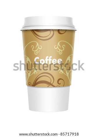 A computer illustration of a takeaway coffee cup