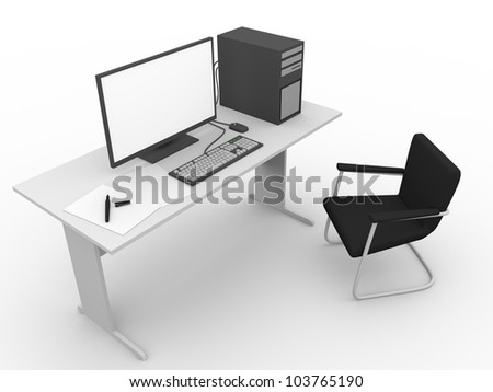 A computer in the workplace. Business and technology concept - stock photo