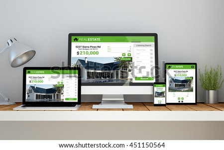 A computer, laptop, smartphone and tablet on a desktop workspace with real estate online responsive website on screen. 3d Illustration. All screen graphics are made up. - stock photo