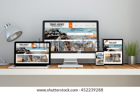 A computer, laptop, smartphone and tablet on a desktop workspace with travel agency responsive website on screen. 3d Illustration. All screen graphics are made up.