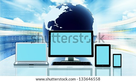 A computer, laptop, tablet, and a smart phone in front of a globe with flashing website screen behind it. You can use blank screen space to display any picture or design  to suit your design purposes. - stock photo
