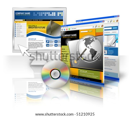 A computer monitor screen with an internet template and CD on a white isolated background. Two other web sites are on the side. Perfect for a technology program concept. - stock photo