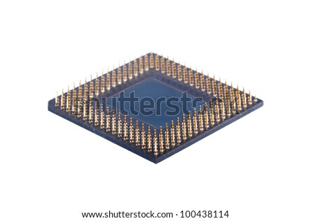 A computer processor on a white background