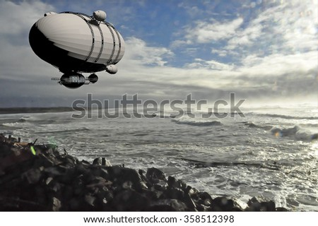 a computer rendered illustration of an old dirigible over a photo that I took of the Pacific Ocean at the Oregon coast