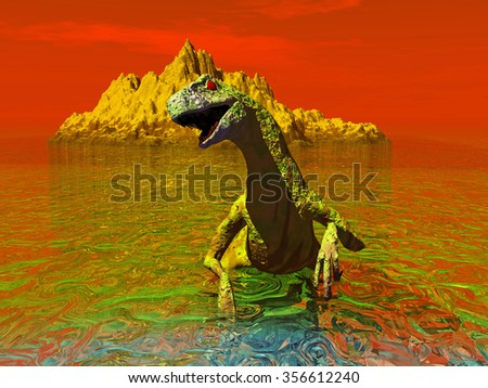 a computer rendering of a raptor type dinosaur emerging from the sea - stock photo