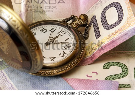 A concept based on time is money. - stock photo