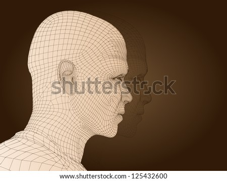 A concept conceptual 3D wireframe human male head isolated on dark brown background as metaphor for technology,cyborg,digital,virtual,avatar,science,fiction,future,mesh,vintage or abstract design
