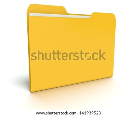 A concept graphic depicting a folder/file concept. Rendered against a white background with a soft shadow and reflection.