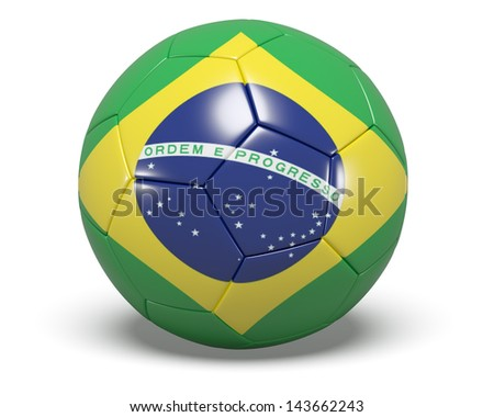 A concept graphic depicting a football/soccer ball with Brazilian Flag concept. Rendered against a white background with a soft shadow and reflection.