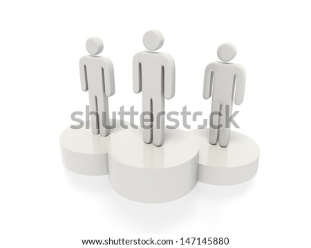 A concept graphic depicting a podium concept. Rendered against a white background with a soft shadow and reflection.