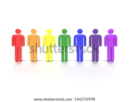 A concept graphic depicting colorful characters. Rendered against a white background with a soft shadow and reflection.
