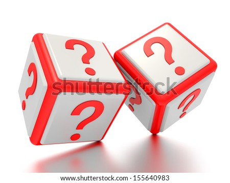 A concept graphic depicting question mark boxes. Rendered against a white background with a soft shadow and reflection.