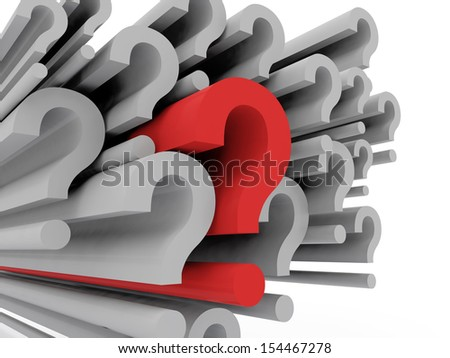 A concept graphic depicting question marks. Rendered against a white background with a soft shadow and reflection.