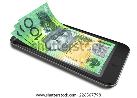 A concept image of a generic smart phone with digital on screen money changing into real australian dollar banknotes signifying cell phone payment systems on an isolated white studio background - stock photo