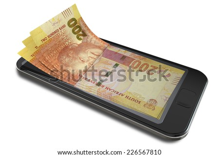 A concept image of a generic smart phone with digital on screen money changing into real south african rand banknotes signifying cell phone payment systems on an isolated white studio background - stock photo