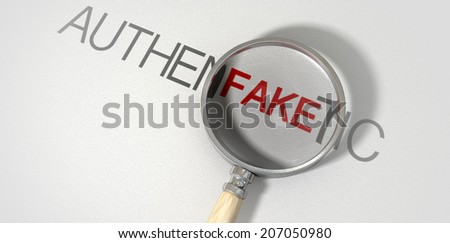 A concept image of a magnifying glass with a wooden handle on a textured white surface showing the word authentic but magnifying the word fake resembling counterfeiting - stock photo