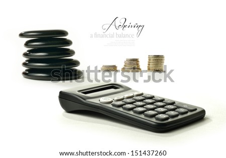 A concept image relating to financial matters. Stacked coins representing investments, pension or savings with Feng Shui black stones representing balance and a generic calculator. Copy space. - stock photo
