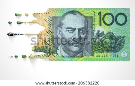 A concept image showing a regular Australian Dollar banknote that is half melted and liquefied dripping on an isolated studio background - stock photo