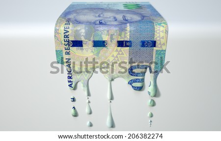 A concept image showing a regular South African Rand banknote that is half melted and liquefied dripping on an isolated studio background - stock photo