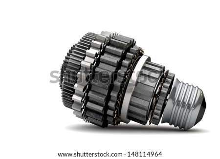 A concept mechanism made up of metal cogwheels making up the shape of a regular light bulb symbolizing imagination on isolated background - stock photo