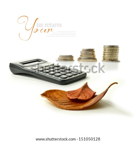 A concept montage of autumnal images relating to financial matters. Tax returns due or maybe pension arrangements in the autumn of ones years. Copy space. - stock photo
