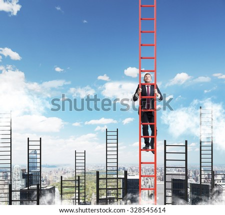 A concept of competition, and problem solving. A businessman choses the right ladder to achieve the success in career. New York city view. - stock photo