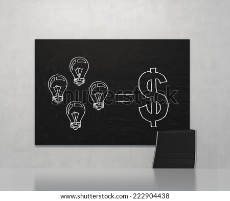 A concept of consultancy services. Drawn flowchart on the blackboard - how to earn money.  - stock photo