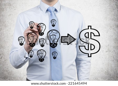A concept of consulting services. Businessman drawing a formula where ideas are equal to money. - stock photo