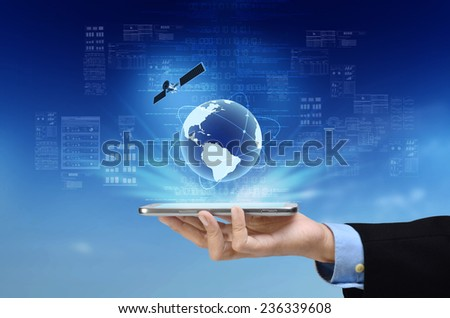 A concept of global internet connection on a smart phone. - stock photo