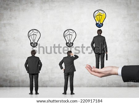 A concept of leadership. Chosen employee.  - stock photo
