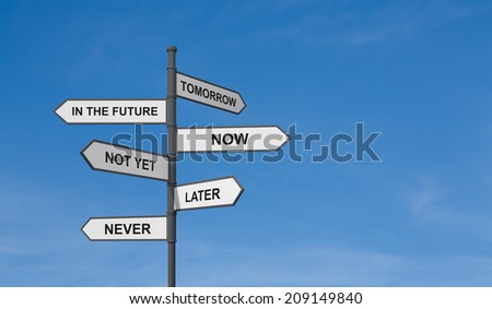 A concept of management strategy of business development. A road sign and blue sky background. - stock photo