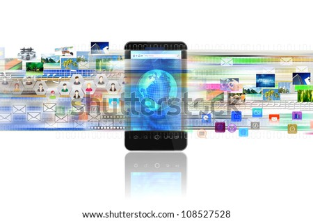 A concept of sharing digital content, entertainment, networking and doing business in a smart phone - stock photo