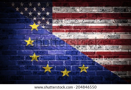A concept of the partnership between The EU and America.  - stock photo