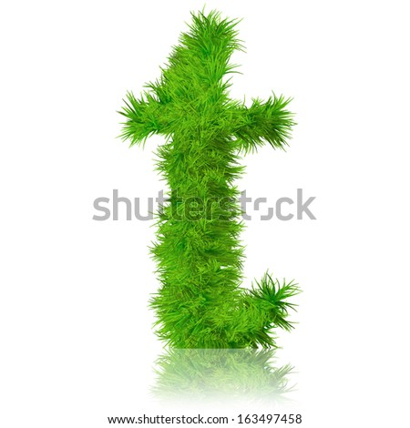 A concept or conceptual set or collection of green grass,eco font isolated on white background,ideal for nature,summer,spring,alphabet,ecology,environment,plant,winter,ecological,conservation design - stock photo