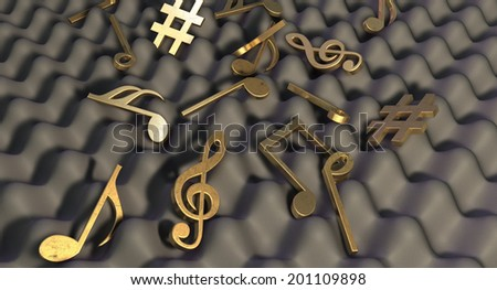 A concept showing a closeup of a section of grey sound foam with gold music symbols and notes laying scattered on top of it - stock photo
