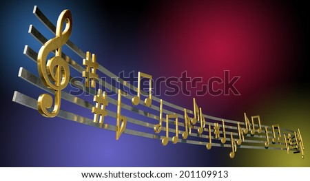 A concept showing literal gold metallic music symbols and notes on the five wavy octave lines on a jazzy colorful background