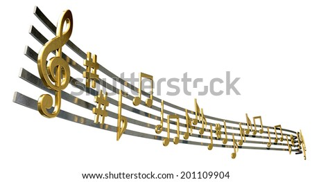 A concept showing literal gold metallic music symbols and notes on the five wavy octave lines on an isolated white background