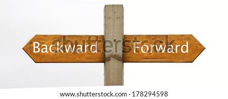 A concept signpost pointing to Backward or Forward - stock photo
