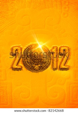 A conceptual 3d render of the Mayan calander and 2012 year as if etched out of gold. Copy space