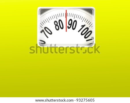 A conceptual dieting image using bathroom scales - stock photo